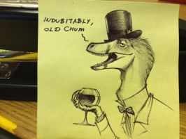 Post-it Note Doodle Dapper Velociraptor by RobtheDoodler