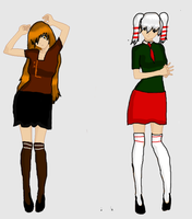 Caramel and Peppermint in Uniforms LARGER by Born-Alive