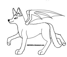 wolf with wing lineart by JENNY8888