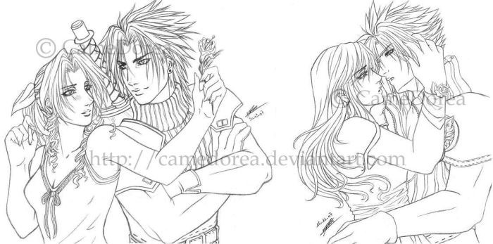FF7 couples by CameDorea