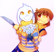 Outertale Asriel+Chara by AzulaGriffon