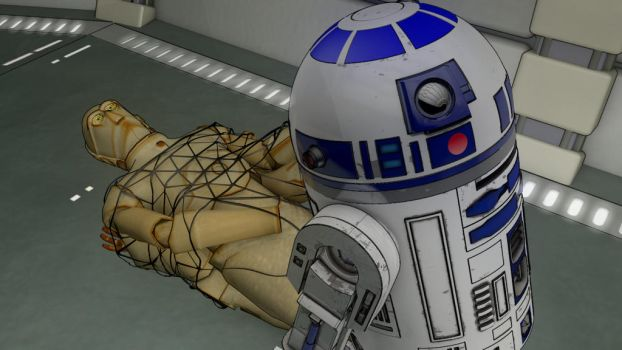 R2-D2 rescues C-3P0 by Mn8Multimedia