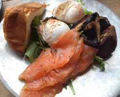 Poached Eggs with Brioche, Salmon and Portobello by nosugarjustanger