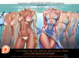 Fantasy Swimsuit step by step tutorial pack.Promo. by sakimichan