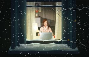 Cosy winter evening by Ollustrator