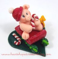 Piglet On A Sleigh by HeartshapedCreations