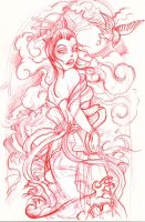 geisha sketch by mojoncio