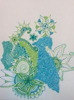 Blue and green flower doodles  by Jfabdoodles
