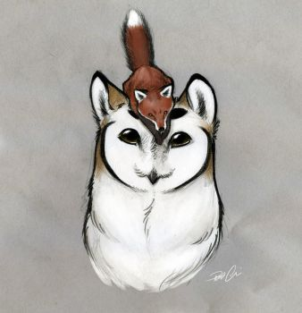 Owl Griffin and fox by RobtheDoodler