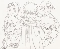 The Five Hokages Line art by ydoc16