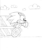 Sonic Zooming - Sketch by Sonic-Gal007