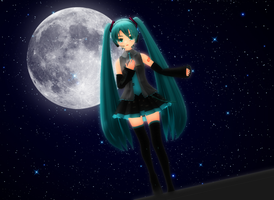 : MMD : Moon Crying by PuniPudding