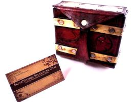 Steampunkified Leather Pouch by Skinz-N-Hydez