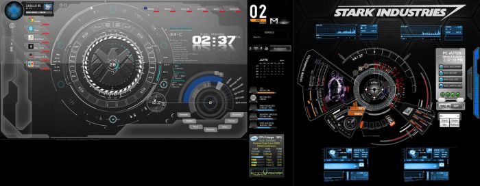 My Rainmeter Skin and Windows gadgets set-up by Lunament
