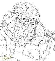 Random scarred turian sketch by efleck