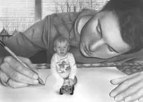 myself drawing my little son by markie1