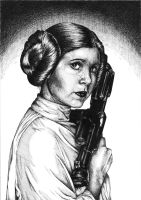 Leia Organa Solo /ink portrait by chibi-in-neverland