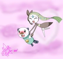 Oshawott x Meloetta in the air... by LaahGata