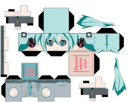 Vocaloid Miku Papertoy by lovekity19