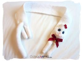 White Rose Kitty Cat Scarf by Cateaclysmic