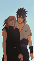 naruto 685 : sasuke and sakura by ilyesgnei