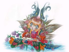 Fountain Fairy by SparkletteMachina