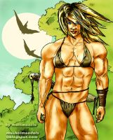 jungle queen with muscles by mattmuscle