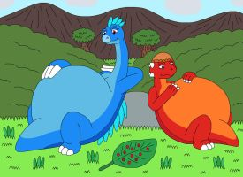 Theo and Palo eat too much berries by MCsaurus