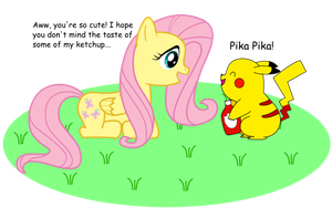 Fluttershy and Pikachu by redboypivot12