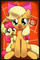 Applejack with  applebloom's bow by hoyeechun