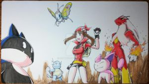 Custom Playmat: Pokemon May and her team by ccayco