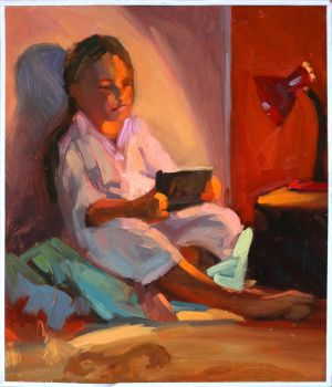 The girl is reading by 0NlX