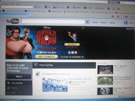 YouTube Main Page with Wreck It Ralph Advertisemen by EspioArtwork