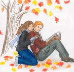 Ron, Hermione Studying by Nebulan