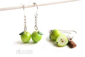 Gorgeous Green Apple Dangle Earring Handmade by LaNostalgie05