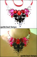 Red Pink and Black Necklace by Natalie526