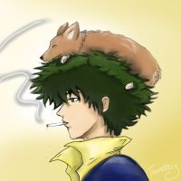 Spike Spiegel and Ein - Cowboy Bebop by tourettesz