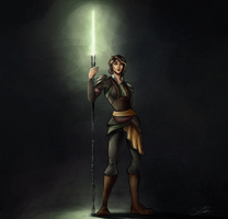 Vesrai - Green Jedi Drawing by Kadira7211