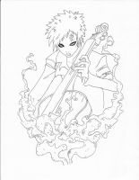 Gaara playing his upright bass by Sampixie