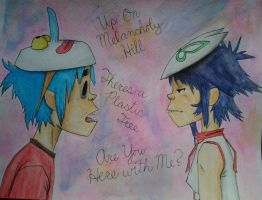 2D and Noodle are Up On Melancholy Hill by LuCkYrAiNdRoP