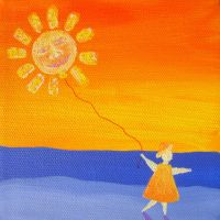 Girl with Sun Balloon by rebeccamichellelee