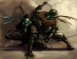 Igme's TMNT - Leo and Mike by Langaw