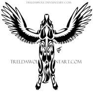 Winged tribal Wolf tattoo by TrelDaWolf