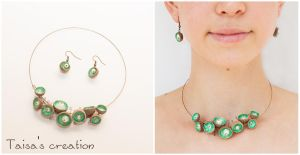 Green Acorn Caps with Pearly Beads Jewelry Set by Taisa-Winged