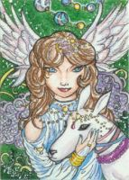 Lady of the White Deer (ACEO) by Keyshe54