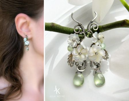 Floral silver earrings apple blossoms by JuliaKotreJewelry