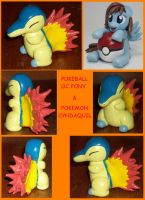 Pokemon Cyndaquil and OC Pokeball Pony by MadPonyScientist