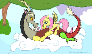 Fluttershy and Discord Cuddle on a Cloud by WolfSpirit1292