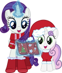 Hearth's Warming Rarity and Sweetie Belle by Stabzor