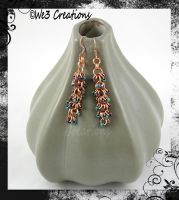 Copper/Green/Maroon Shaggy Loops Earrings by kelleejm1